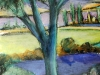 Landscape Study of Blue Tree -pastel