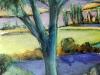 Landscape Study of Blue Tree -pastel